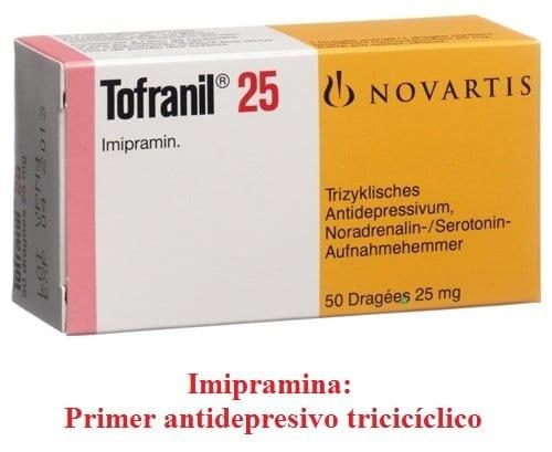 Imipramina: Primer antidepresivo tricíclico.