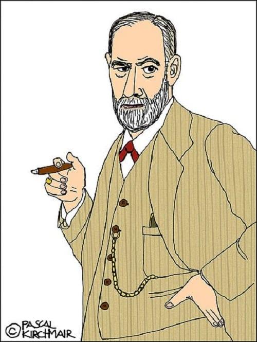 Sigmund Freud fumando un puro