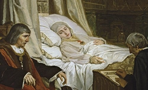 Isabel la Católica dictando su testamento - Retrato de Rosales