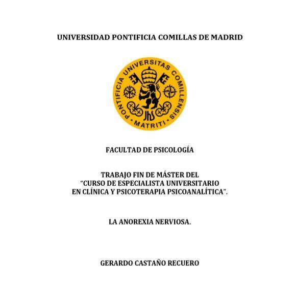 La anorexia Nerviosa - Gerardo Castaño Recuero