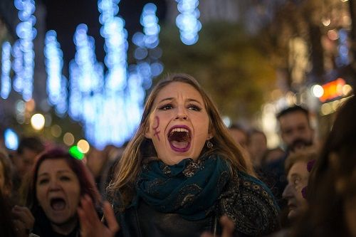 Manifestación en Madrid contra la violencia de género